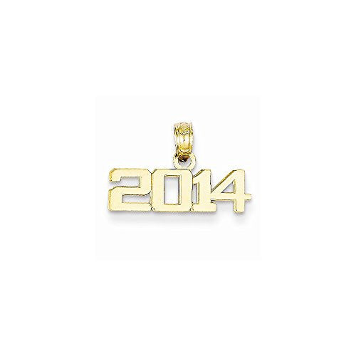 14k Polished Block 2014 Graduation Pendant, Best Quality Free Gift Box Satisfaction Guaranteed - shopvistar