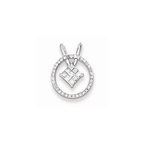 Sterling Silver Rhodium Plated Diamond Circle & Square Pendant, Best Quality Free Gift Box Satisfaction Guaranteed - shopvistar