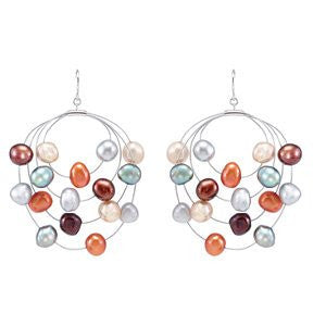 Silver And Stainless Steel Freshwater Cult Dyed Pearringsl Earrings - shopvistar