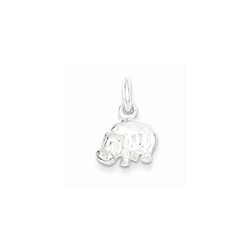 Sterling Silver Hippo Charm, Best Quality Free Gift Box Satisfaction Guaranteed - shopvistar