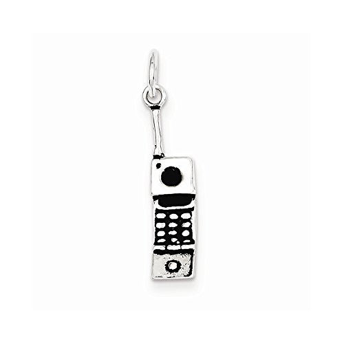 Sterling Silver Antiqued Cell Phone Charm, Best Quality Free Gift Box Satisfaction Guaranteed - shopvistar