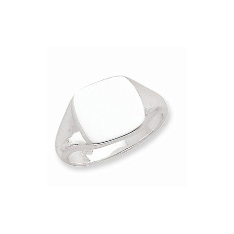 Sterling Silver 12.5x14mm Solid Back Signet Ring , Size: 10 - shopvistar
