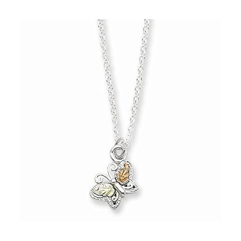Sterling Silver & 12k Butterfly Necklace, Best Quality Free Gift Box Satisfaction Guaranteed - shopvistar