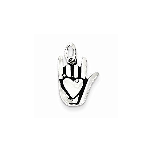 Sterling Silver Antiqued Sign Language Charm, Best Quality Free Gift Box Satisfaction Guaranteed - shopvistar