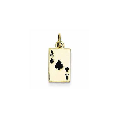 14k Enameled Ace Of Spades Card Charm, Best Quality Free Gift Box Satisfaction Guaranteed - shopvistar