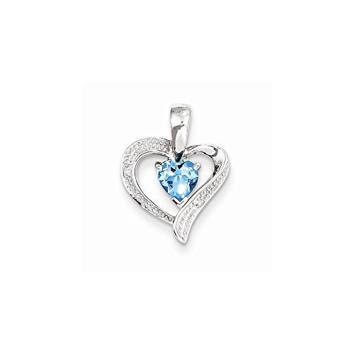Sterling Silver Rhodium Plated Diamond & Lt Swiss Bt Heart Pendant, Best Quality Free Gift Box Satisfaction Guaranteed - shopvistar