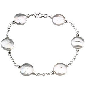 Sterling Silver Freshwater Cultured White Coin - shopvistar