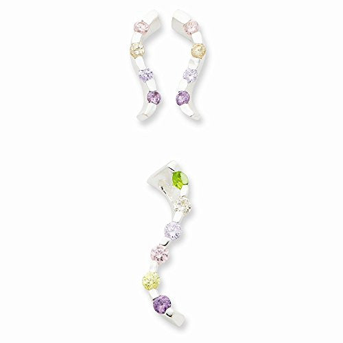 Sterling Silver Multi-colored Synthetic Cz Earring & Pendant Set - shopvistar