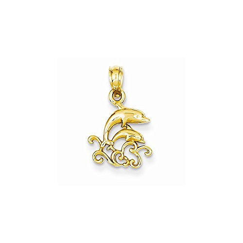 14k Polished Dolphins & Waves Pendant, Best Quality Free Gift Box Satisfaction Guaranteed - shopvistar
