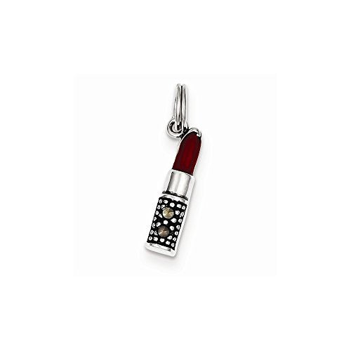 Sterling Silver Enameled Lipstick Charm, Best Quality Free Gift Box Satisfaction Guaranteed - shopvistar