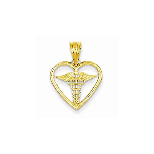 14k Caduceus Heart Medical Pendant, Best Quality Free Gift Box Satisfaction Guaranteed - shopvistar