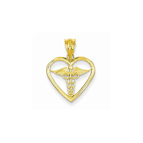14k gold medical id shopvistar 14k caduceus heart medical pendant best quality free gift box satisfaction guaranteed mozeypictures Choice Image