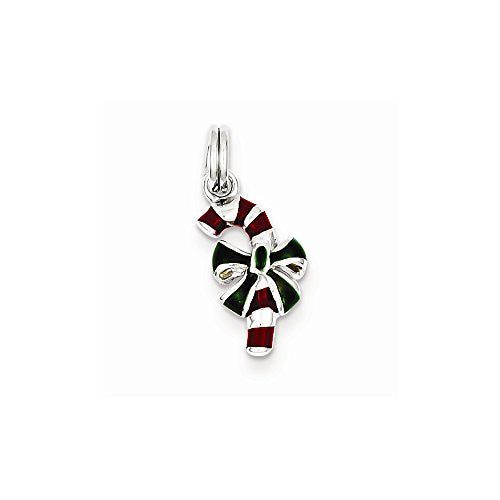 Sterling Silver Enamel Candy Cane Charm, Best Quality Free Gift Box Satisfaction Guaranteed - shopvistar