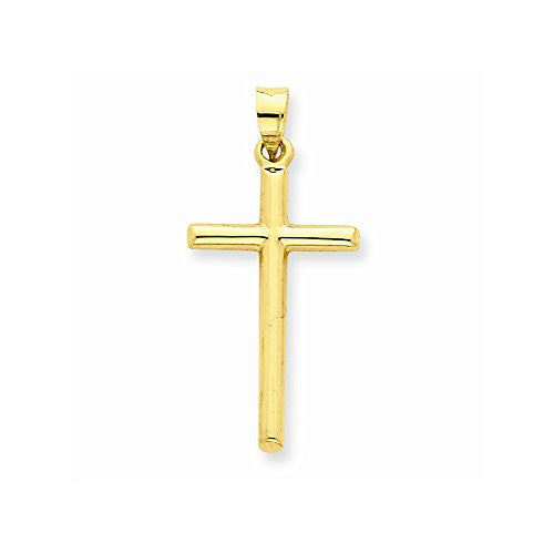 14k Polished Hollow Cross Pendant, Best Quality Free Gift Box Satisfaction Guaranteed - shopvistar