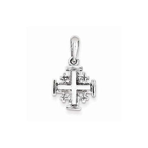 14k White Gold Jerusalem Cross Charm, Best Quality Free Gift Box Satisfaction Guaranteed - shopvistar