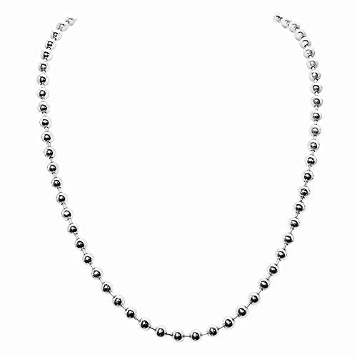 Nikki Lissoni Silver- tone 3mm Bead Chain Necklace - shopvistar
