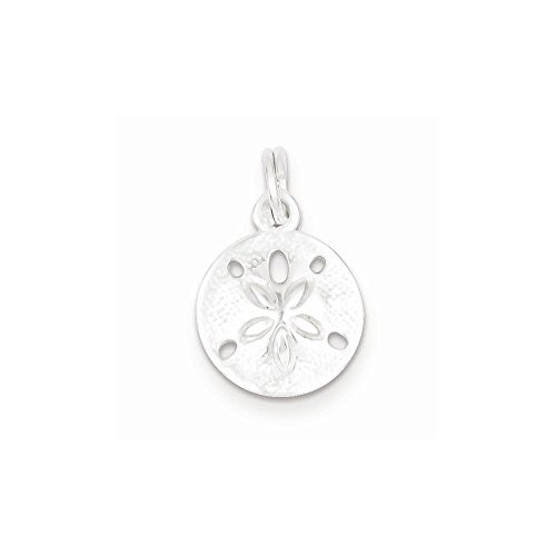 Sterling Silver Polished Sand Dollar Charm, Best Quality Free Gift Box Satisfaction Guaranteed - shopvistar