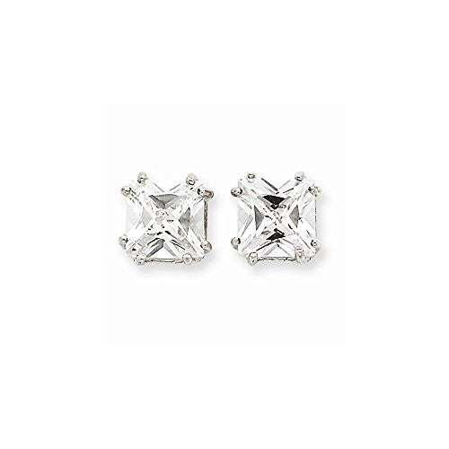 Sterling Silver Princess Cz Stud Earrings, Best Quality Free Gift Box Satisfaction Guaranteed - shopvistar