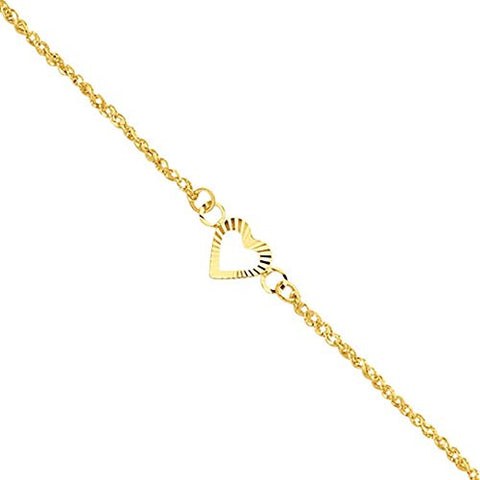 14k Dia-Cut Hearts with 9in 1in ext Anklet, Best Quality Free Gift Box Satisfaction Guaranteed - shopvistar
