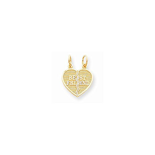10k 2 Piece Break-apart Best Friend Heart Charm, Best Quality Free Gift Box Satisfaction Guaranteed - shopvistar