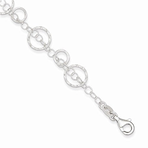 Sterling Silver Textured Circles Link Bracelet, Best Quality Free Gift Box Satisfaction Guaranteed - shopvistar