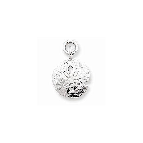 14k White Gold Polished Sand Dollar Charm, Best Quality Free Gift Box Satisfaction Guaranteed - shopvistar