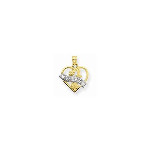 10k & Rhodium #1 Wife Heart Charm, Best Quality Free Gift Box Satisfaction Guaranteed - shopvistar