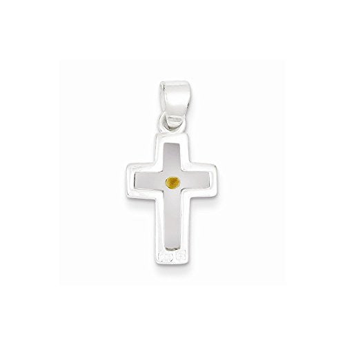 Sterling Silver Enameled With Mustard Seed Cross Pendant - shopvistar