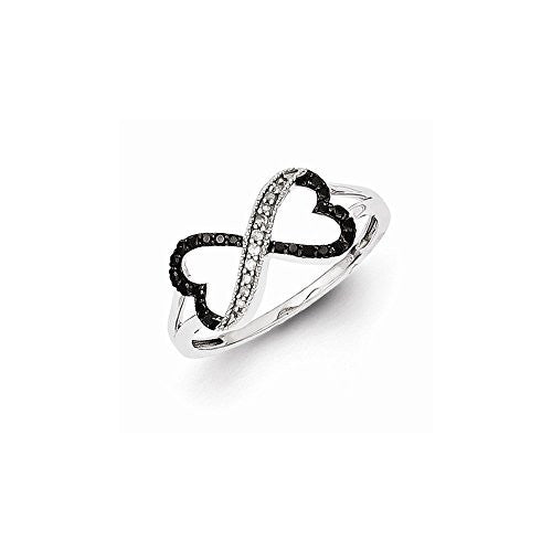 Sterling Silver Black And White Diamond Double Heart Ring, Best Quality Free Gift Box Satisfaction Guaranteed - shopvistar