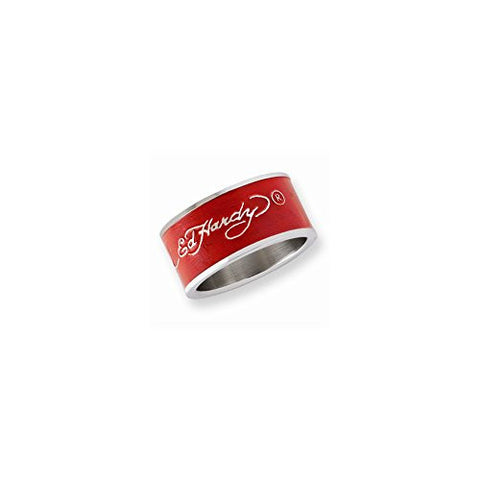 Stainless Steel Signature Red Acrylic 11.5 Mm Ring by Ed Hardy Jewelry, Best Quality Free Gift Box Satisfaction Guaranteed - shopvistar