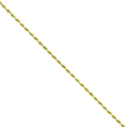 Gold-plated Sterling Silver 1.75mm Dia-Cut Rope Chain, Best Quality Free Gift Box Satisfaction Guaranteed - shopvistar