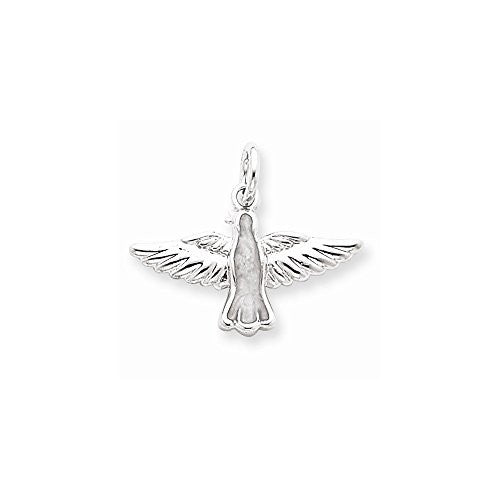 Sterling Silver Enameled Holy Spirit Charm, Best Quality Free Gift Box Satisfaction Guaranteed - shopvistar