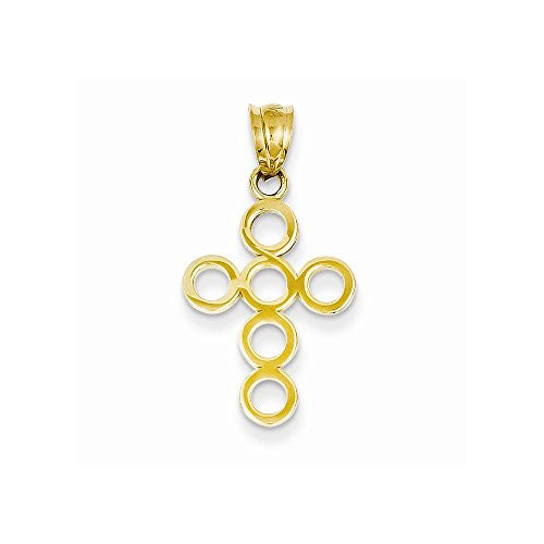14k Polished Circles Cross Pendant, Best Quality Free Gift Box Satisfaction Guaranteed - shopvistar