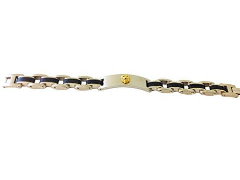 Stainless Steel Gold Plated Lion Head with Black 7.5 Inch Bracelet - shopvistar