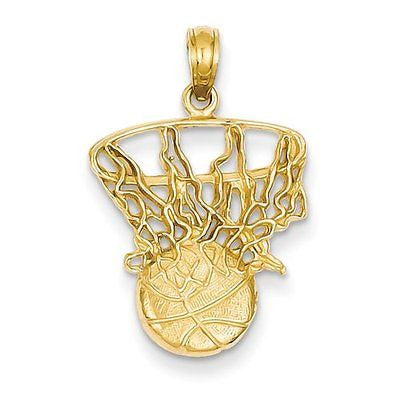 14k Swoosh Basketball and Net Pendant with 14k Chain [16] - shopvistar