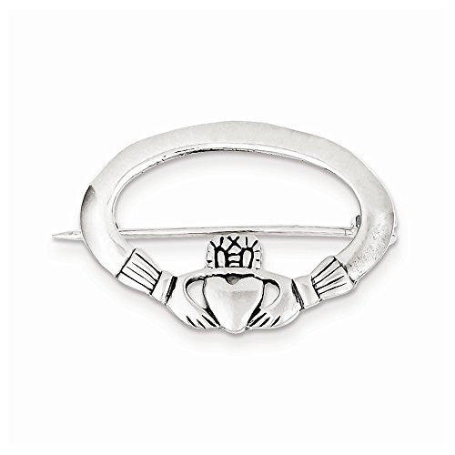 Sterling Silver Claddagh Pin, Best Quality Free Gift Box Satisfaction Guaranteed - shopvistar