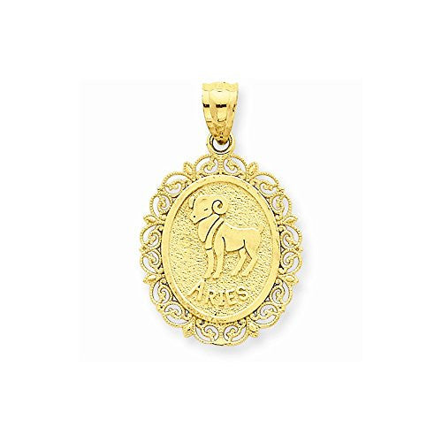 14k Solid Satin Polished Aries Zodiac Oval Pendant, Best Quality Free Gift Box Satisfaction Guaranteed - shopvistar