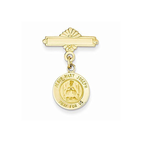 14k Holy Family Medal Pin, Best Quality Free Gift Box Satisfaction Guaranteed - shopvistar