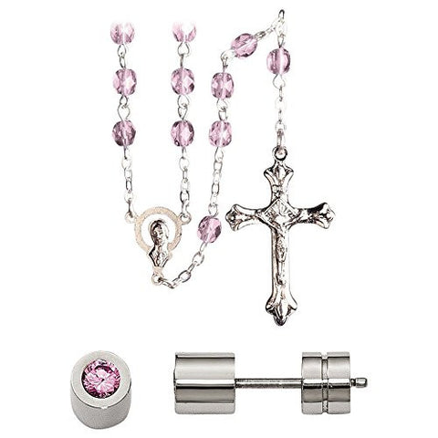 Stainless Steel Cz October Synthetic Birthstone Earrings and Rosary - shopvistar
