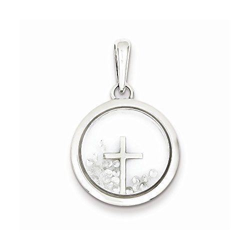 Sterling Silver Cross And Floating Glass Beads Pendant - shopvistar