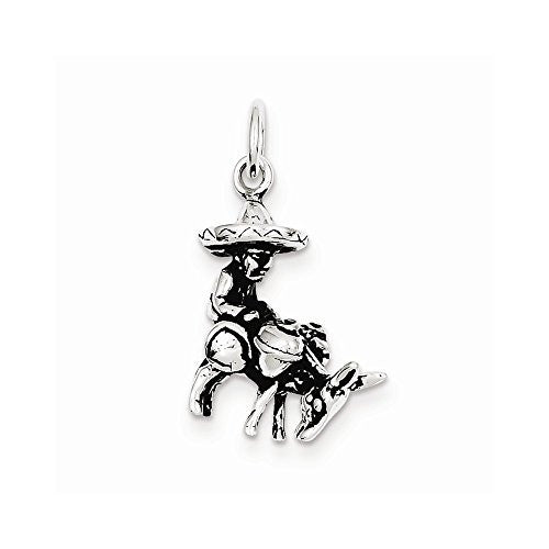 Sterling Silver Antiqued Man And Donkey Charm, Best Quality Free Gift Box Satisfaction Guaranteed - shopvistar