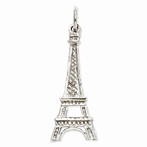 14k White Gold Solid Polished Eiffel Tower Charm, Best Quality Free Gift Box Satisfaction Guaranteed - shopvistar