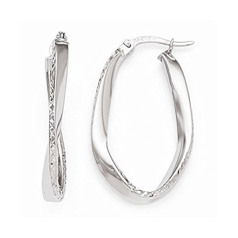 Leslie's 10k White Gold Polished & Dia-Cut Oval Hoop Earrings - shopvistar