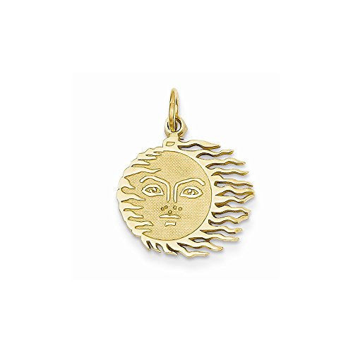 14k Flaming Sun Charm, Best Quality Free Gift Box Satisfaction Guaranteed - shopvistar