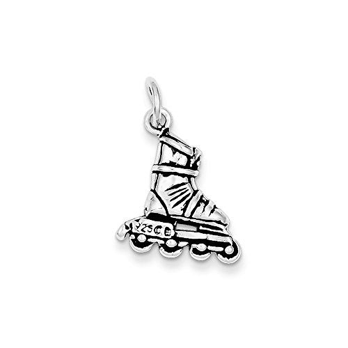Sterling Silver Antiqued Rollerblade Charm, Best Quality Free Gift Box Satisfaction Guaranteed - shopvistar