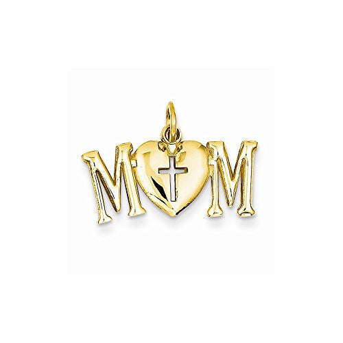 14k Polished Mom With Cross Charm, Best Quality Free Gift Box Satisfaction Guaranteed - shopvistar