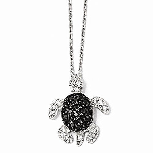 Sterling Silver Black and White CZ Turtle Necklace - shopvistar