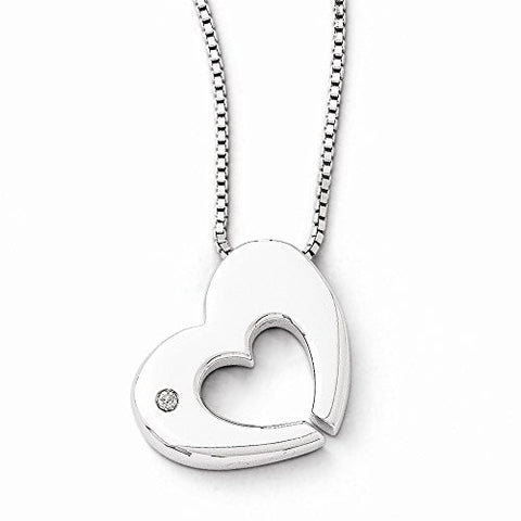 Ss White Ice .02ct Diamond Heart Necklace, Best Quality Free Gift Box Satisfaction Guaranteed - shopvistar