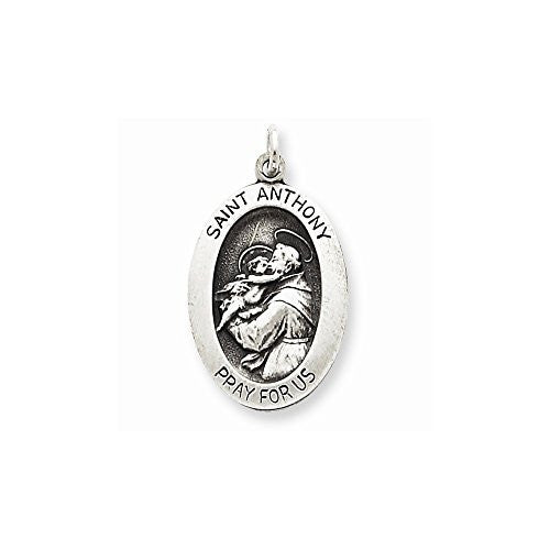 Sterling Silver Antiqued Saint Anthony Medal, Best Quality Free Gift Box Satisfaction Guaranteed - shopvistar
