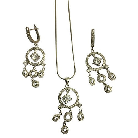 925 Sterling Silver CZ Jewelry Set with Earrings, Pendant, Necklace with Vi Star Polishing Cloth - shopvistar
